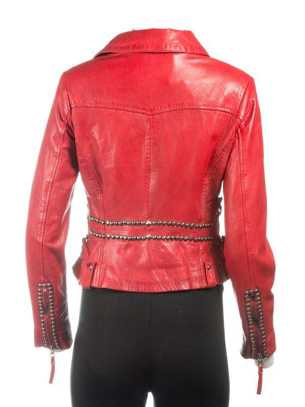 trending red women jacket, trending women red leather jacket,