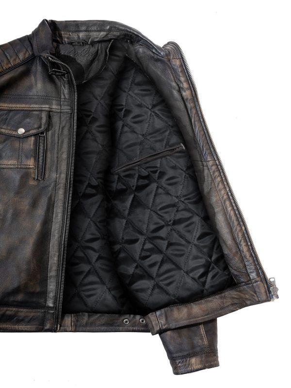 men distressed leather jacket, men distressed biker leather jacket,