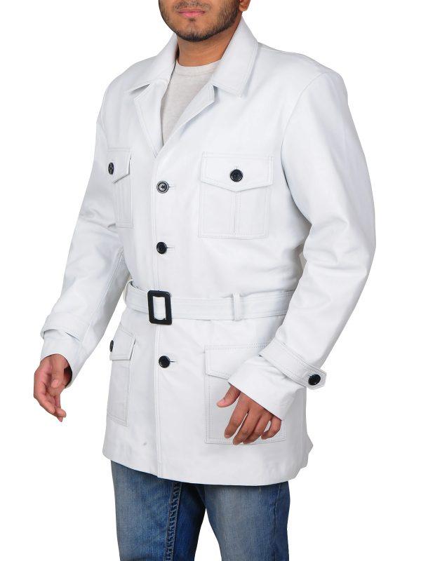 stylish white men jacket, stylish white men leather ajcket,