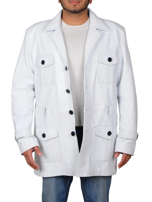white leather long coat, white long coat for men,