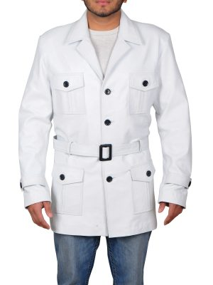 fashionable white leather coat, trending white leather coat for men,