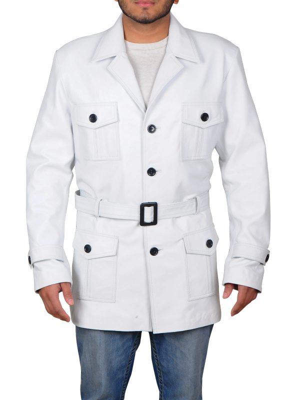 fashionable white leather coat, trending white leather coat for men,