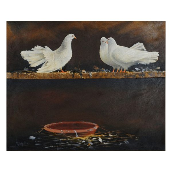 white pigeons oil painting, white pigeons oil painting for sale,