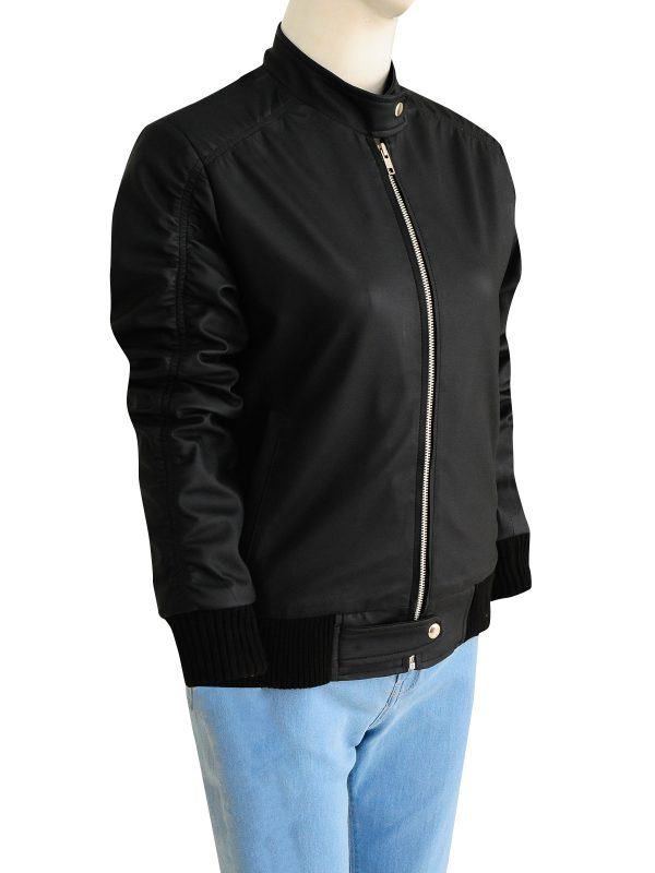 cool black women jacket, women black leather jacket,