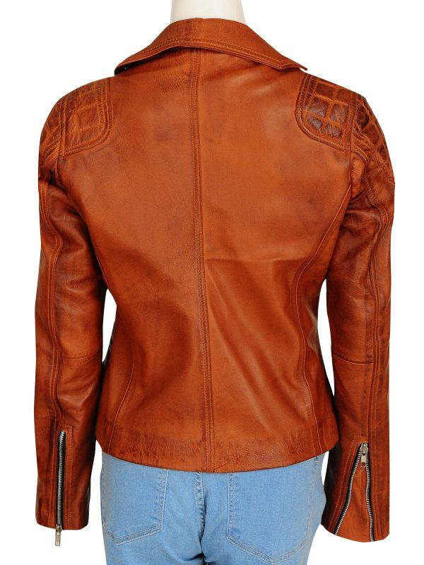 vintage brown leather jacket, brown biker women jacket,