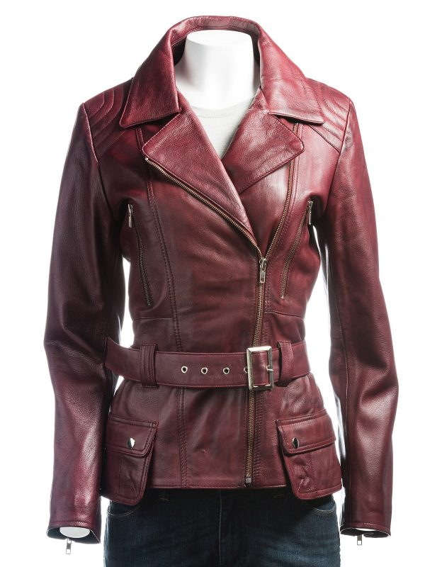 women burgundy leather jacket, burgundy women leather jacket,