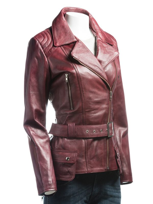 burgundy biker ladies jacket, girl burgundy leather jacket,
