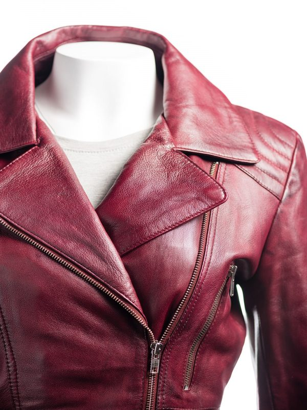 burgundy girl leather jacket, burgundy biker girl jacket,