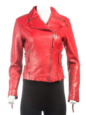 fashionable red women jacket, fashionable women red leather jacket,