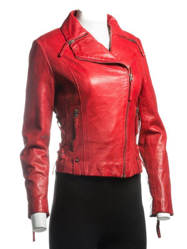 stylish women red leather jacket, women red lapel collar jacket,