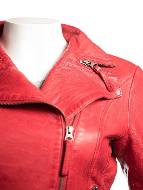 biker red women jacket, red leather jacket for women,