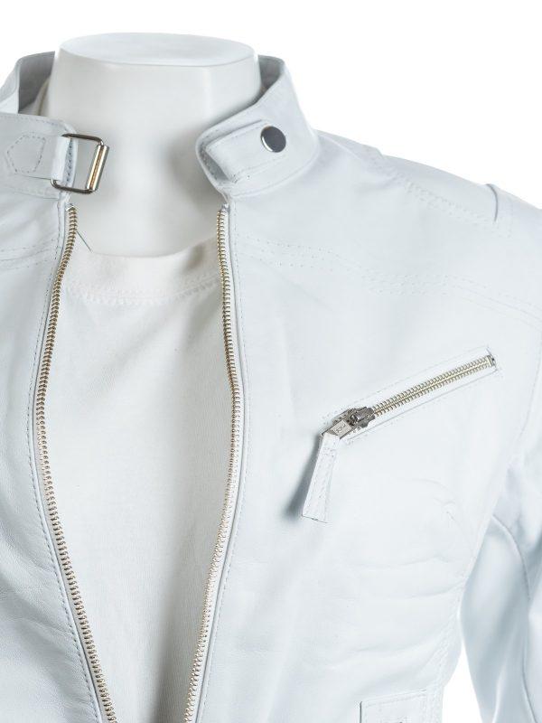 real leather women jacket, stylish white women jacket,