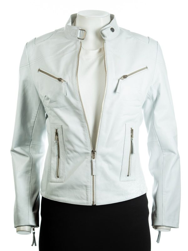 women white biker leather jacket, white biker leather jacket for women,