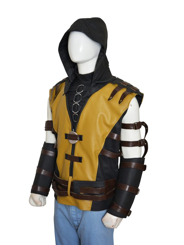 cosplay costume mortal combat, scorpion yellow cosplay costume,