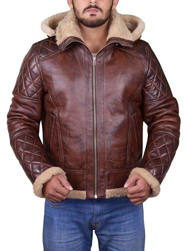 men shearling bomber jacket