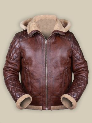 men maroon shearling leather jacket