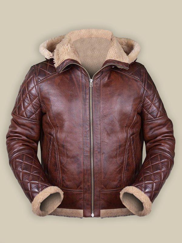men maroon shearling leather jacket