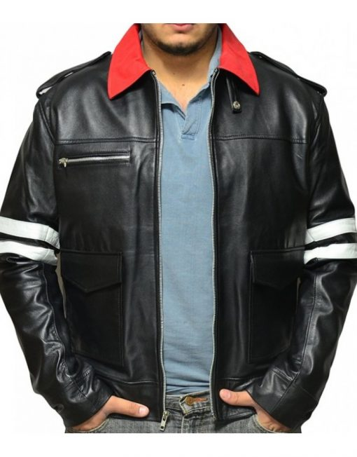 Alex Mercer Prototype Black Leather Jacket, men black and red leather jacket,