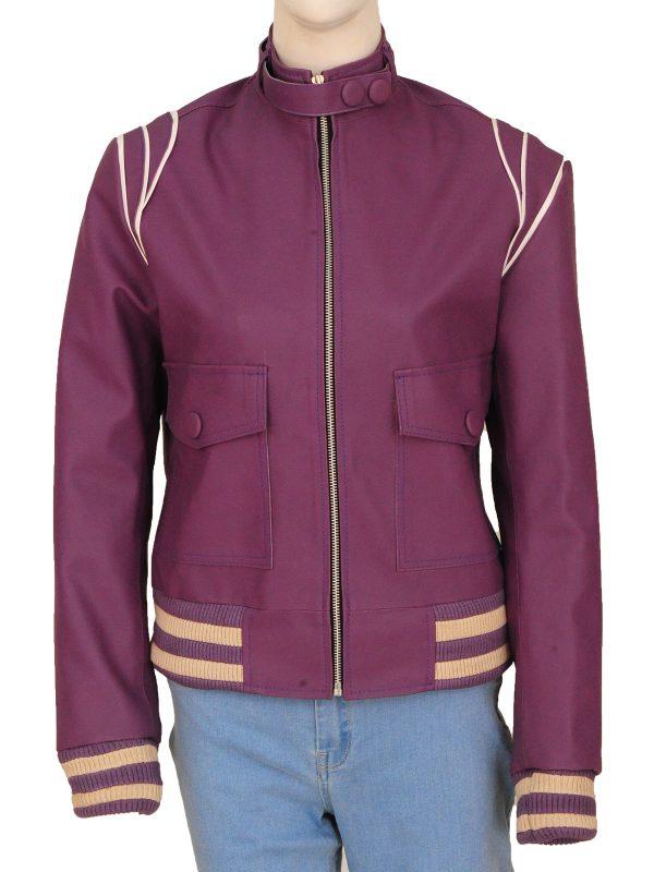 slim fit purple leather jacket, women slim fit purple leather jacket,