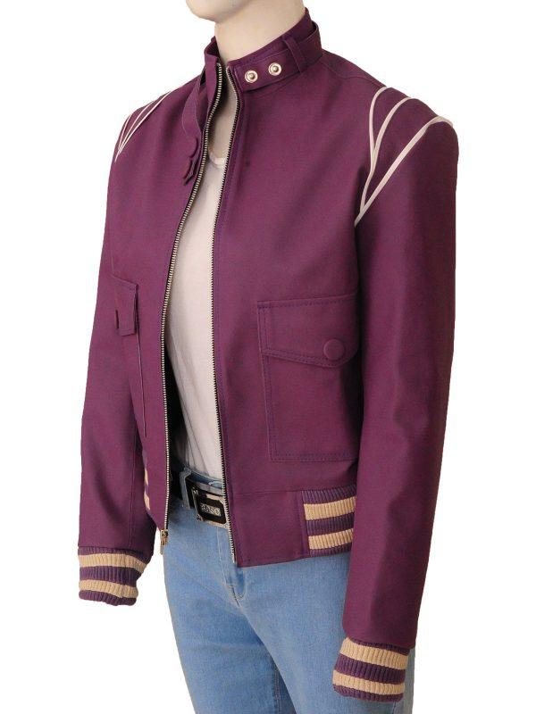 women purple leather jacket, stylish women purple leather jacket,