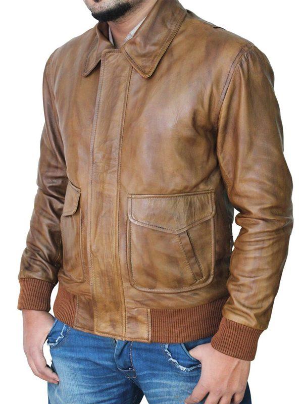 distressed brown men leather jacket, brown men leather jacket,