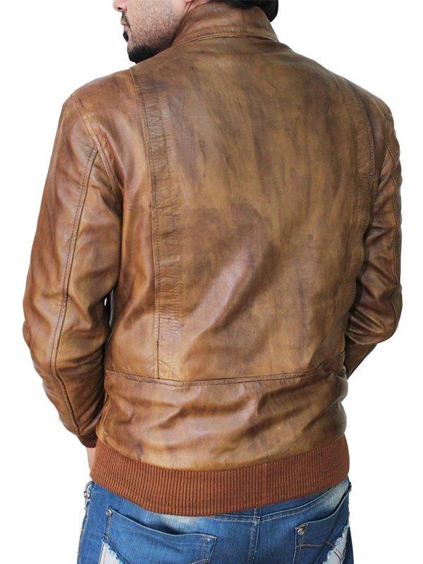 trending brown men leather jacket, distressed brown leather jacket for men.