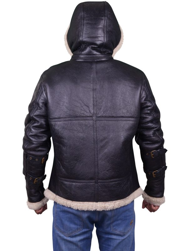 men shearling leather jacket, men aviator leather jacket,