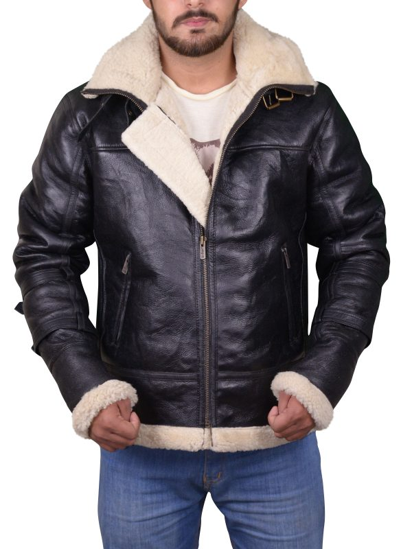 b3 bomber shearling jacket, b3 bomber black leather jacket,