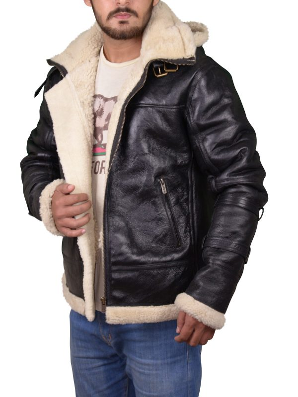 black b3 bomber jacket, black b3 bomber men leather jacket,