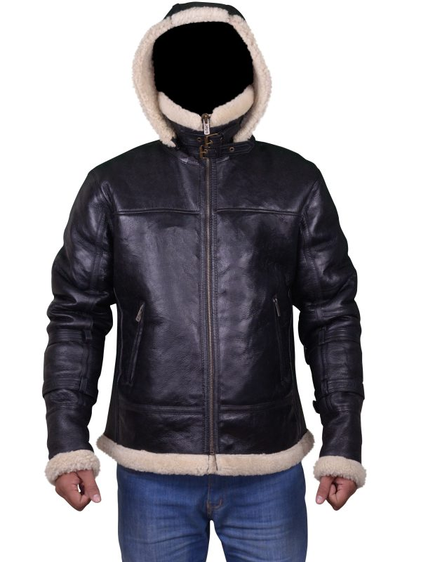 bomber leather jacket with hoodie, b3 bomber leather ajcket with hoodie,