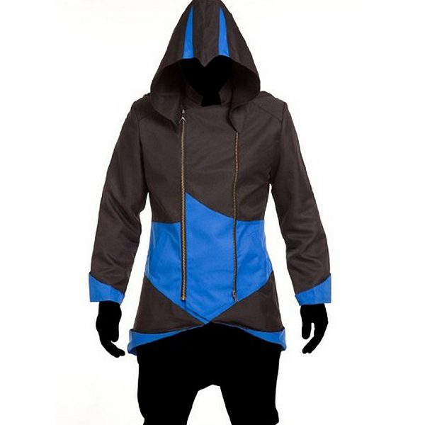 Assassin's Creed trench coat, men black and blue leather jacket,