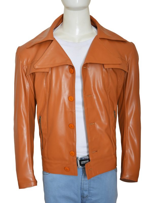 brown men leather jacket, men shirt collar leather jacket,
