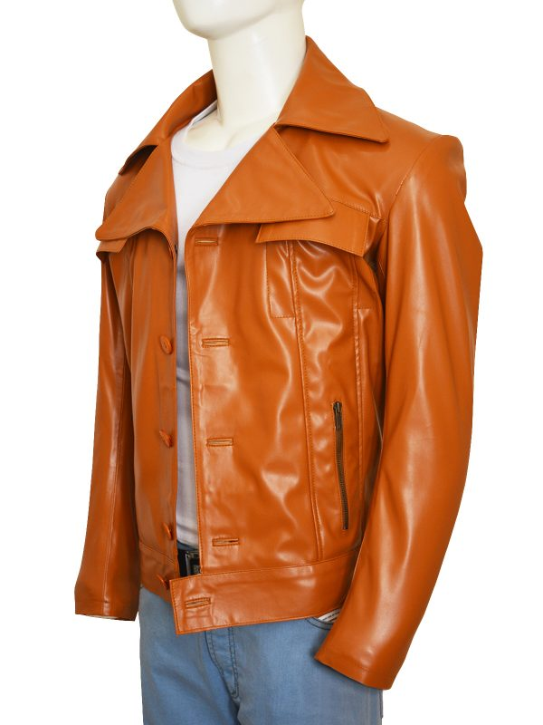 men brown faux leather jacket, men brown brando leather jacket,