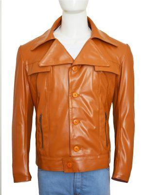 brown slim fit leather jacket, men tan brown leather jacket,