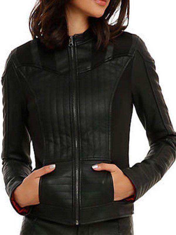 stylish black women leather jacket, trending women slim fit leather jacket,