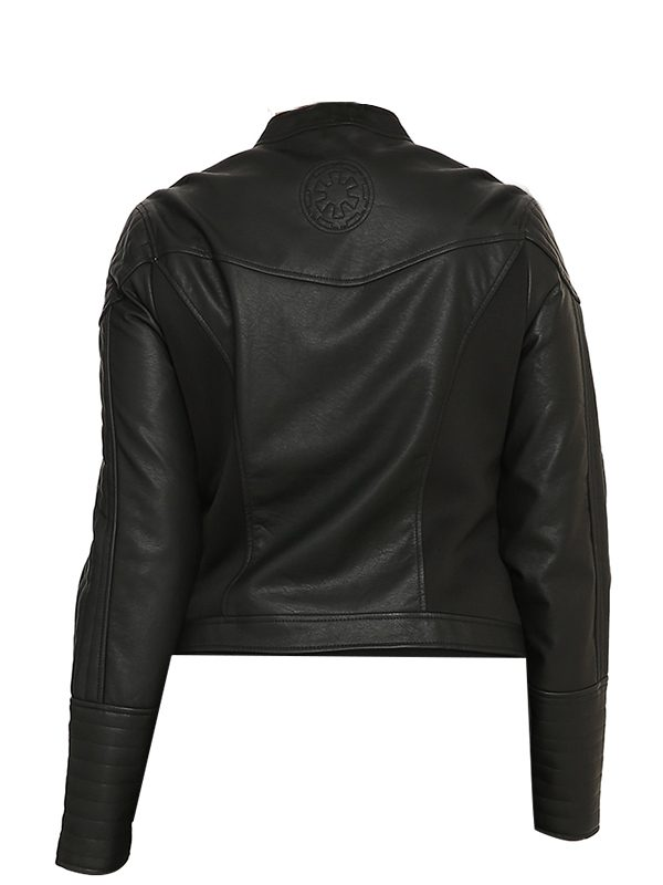 women black leather jacket, fashionable, trending,