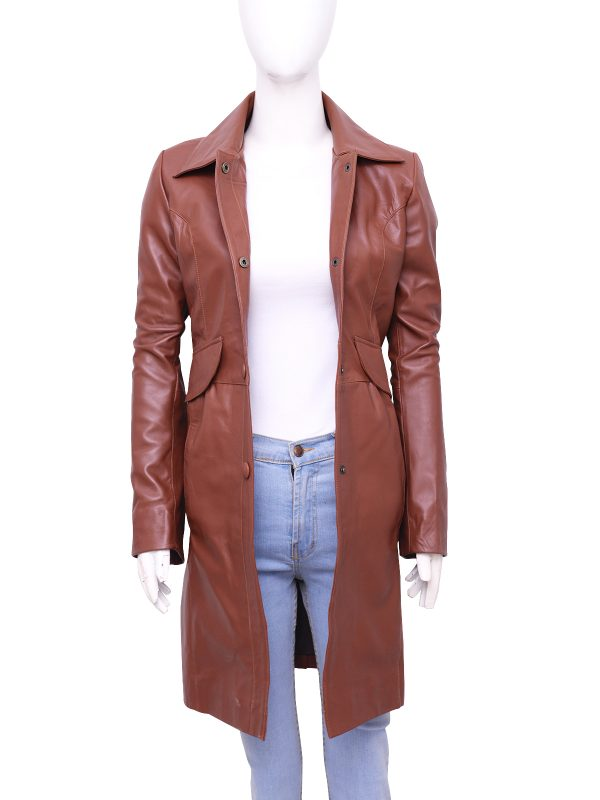fashionable women trench coat, brown women trench leather coat,