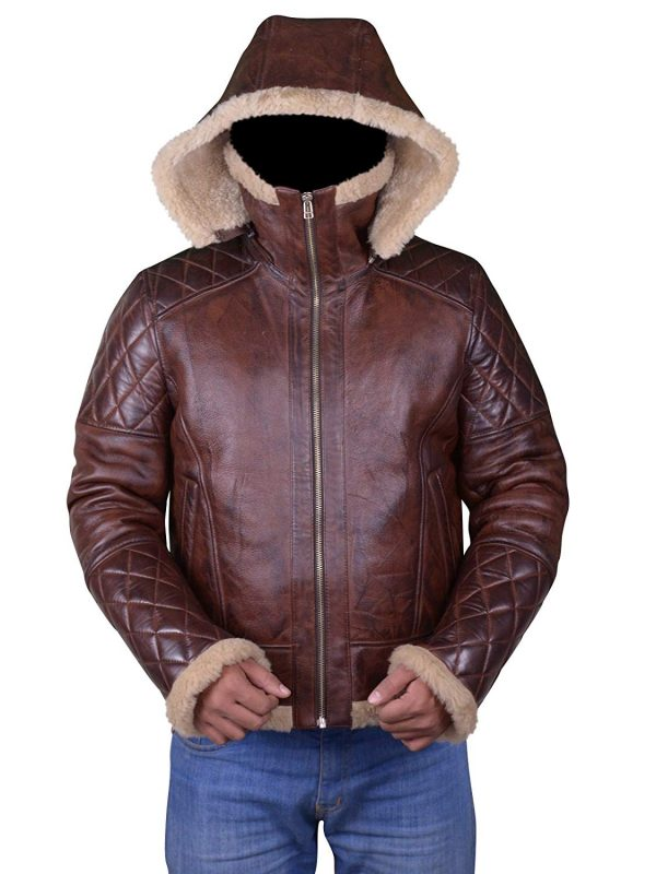 men shearling leather jacket, brown shearling leather jacket,