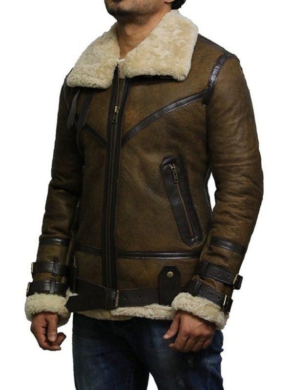 men brown b3 bomber leather jacket, men shearling b3 bomber jacket,