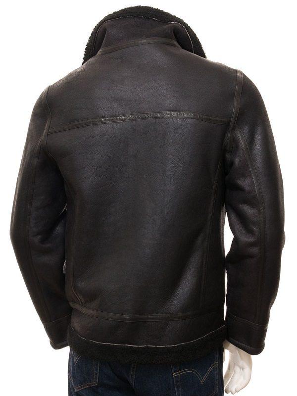 real leather fur collar men jacket, trending black shearling men leather jacket,
