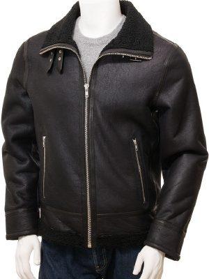 men b3 bomber black shearling leather jacket, men black slim fit fur collar jacket,