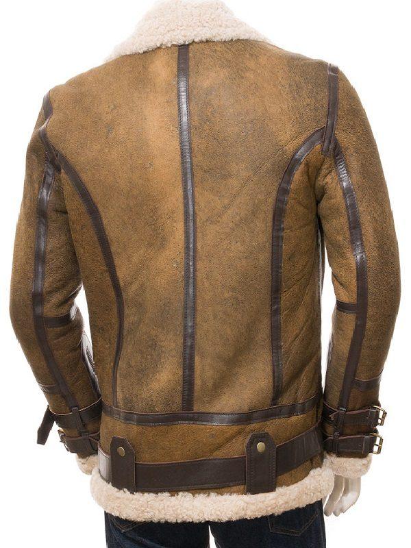 brad pitt shearling leather jacket, men brown b3 bomber jacket,