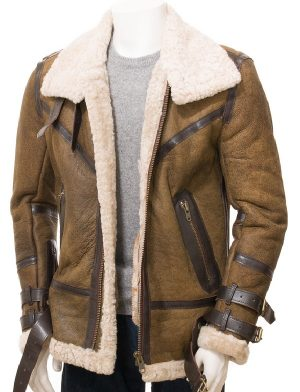 men sheepskin leather jacket, men shearling leather jacket,