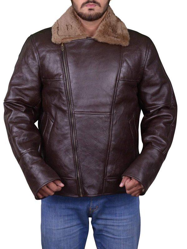 b3 bomber aviator shearling jacket, men aviator shearling leather jacket,