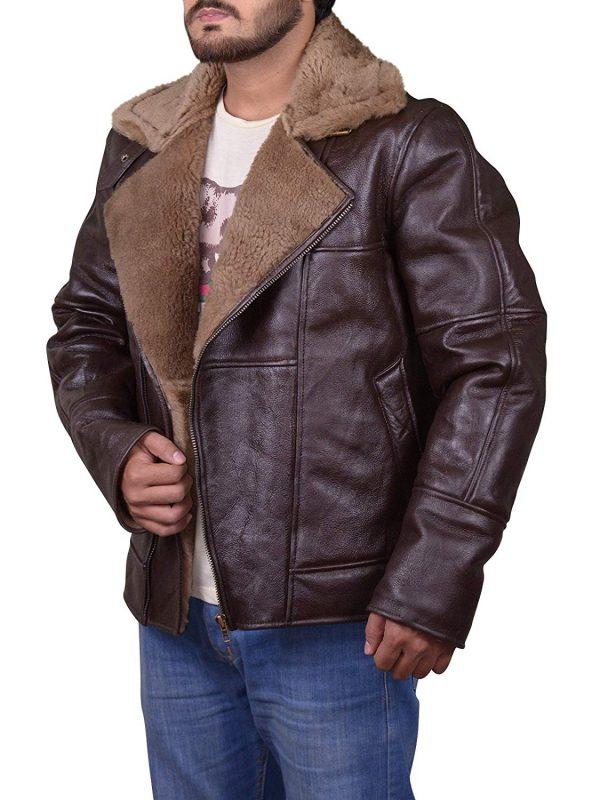 men shearling b3 brown sheepsking flying jacket, mens shearling b3 brown gignger sheepskin ww2 bomber leather flying jacket,