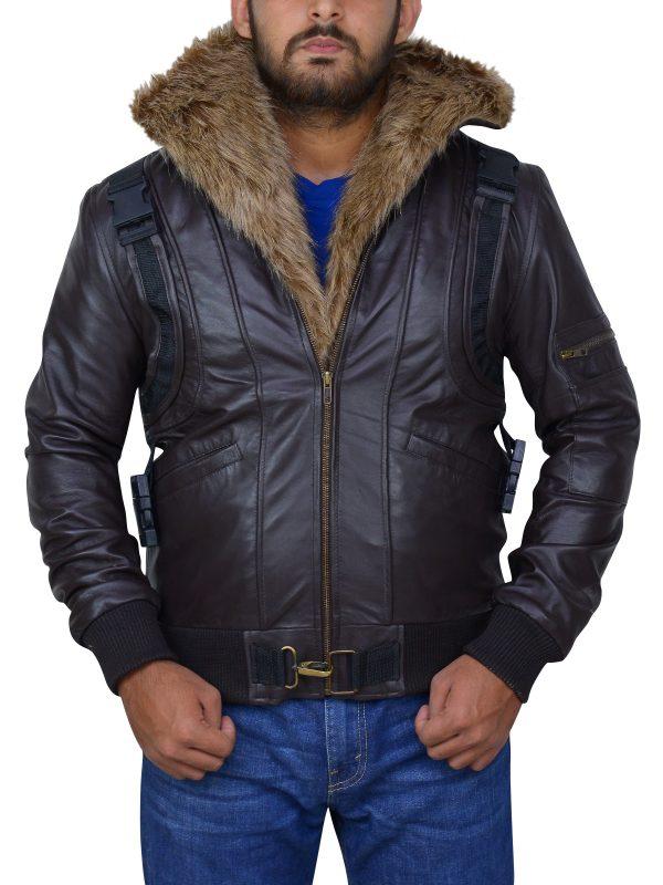 men faux fur leather jacket, brown fur collar men jacket,