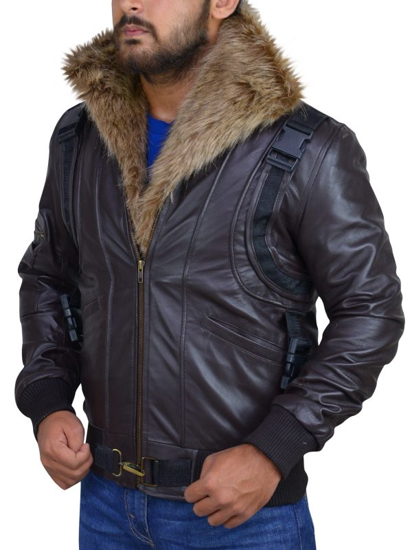 fur collar leather jacket, men brown leather jacket,