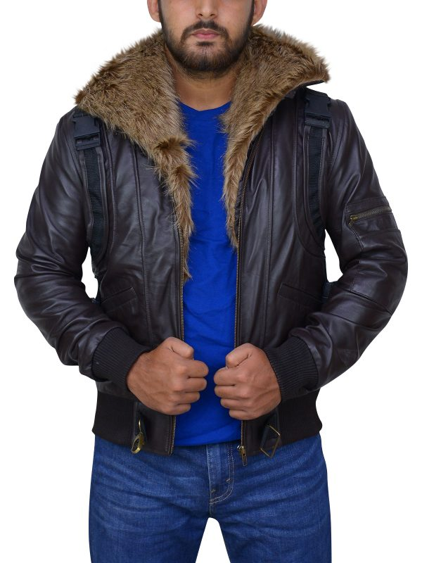 trending brown men fur collar jacket, stylish men brown leather jacket,