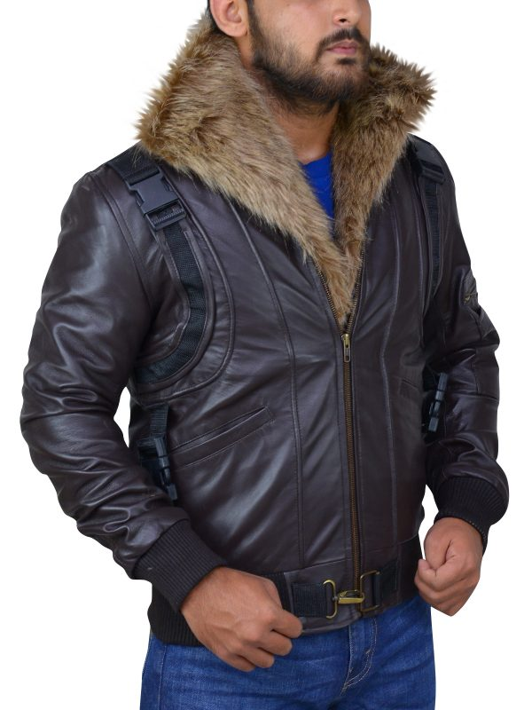 brown leather jacket with fur collar, fur collar brown leather jacket for men,