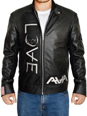 black men leather jacket, american music black leather jacket,